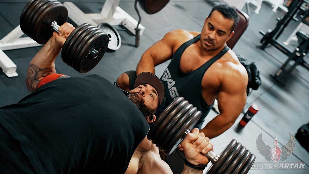 chest workout with dumbbell flat press