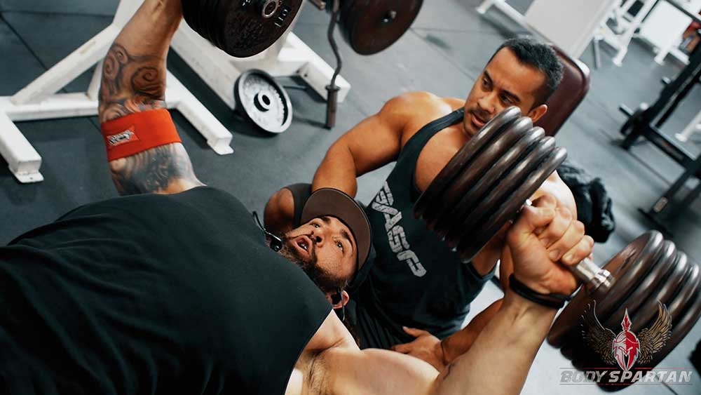 dumbbell flat press for chest workout