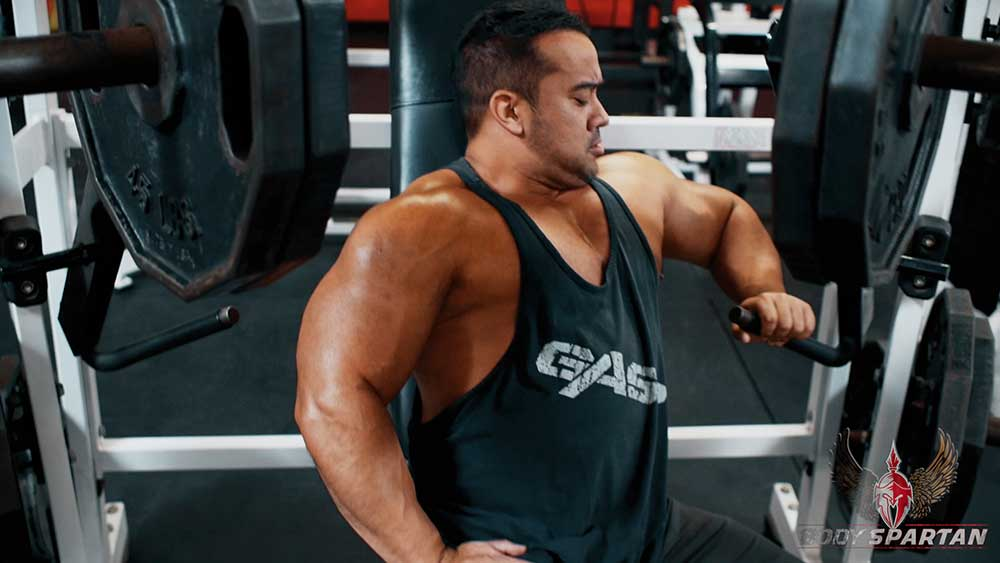 Single arm hammer strength press for chest workout