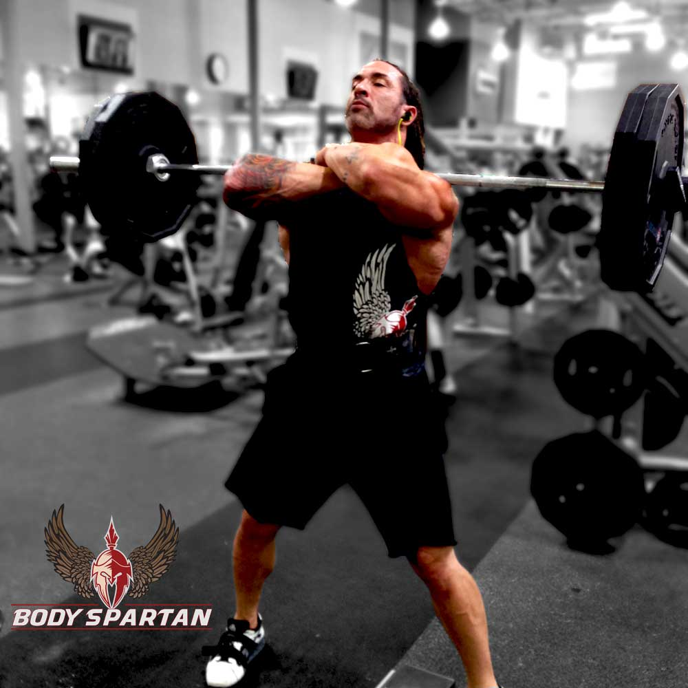 Front Squats in top position for the best leg workout