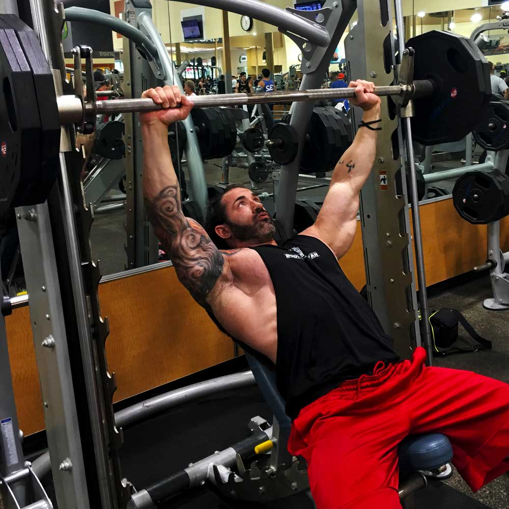 Chest workout incline smith press