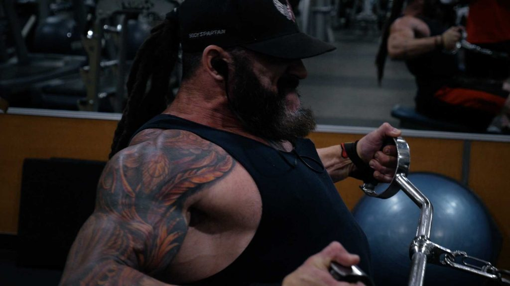 Low row, wide grip for back workout