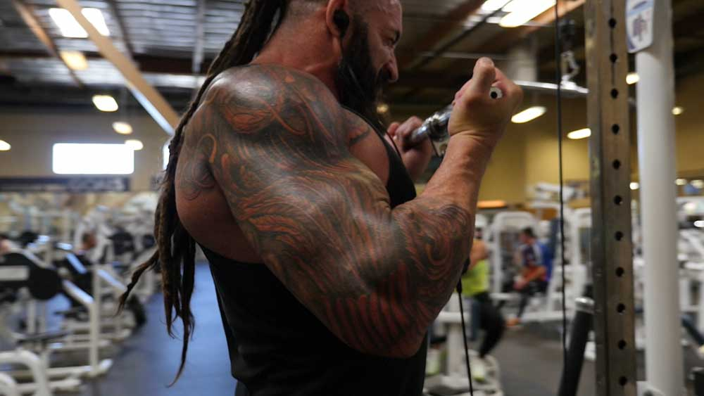 Cable biceps curls position 2