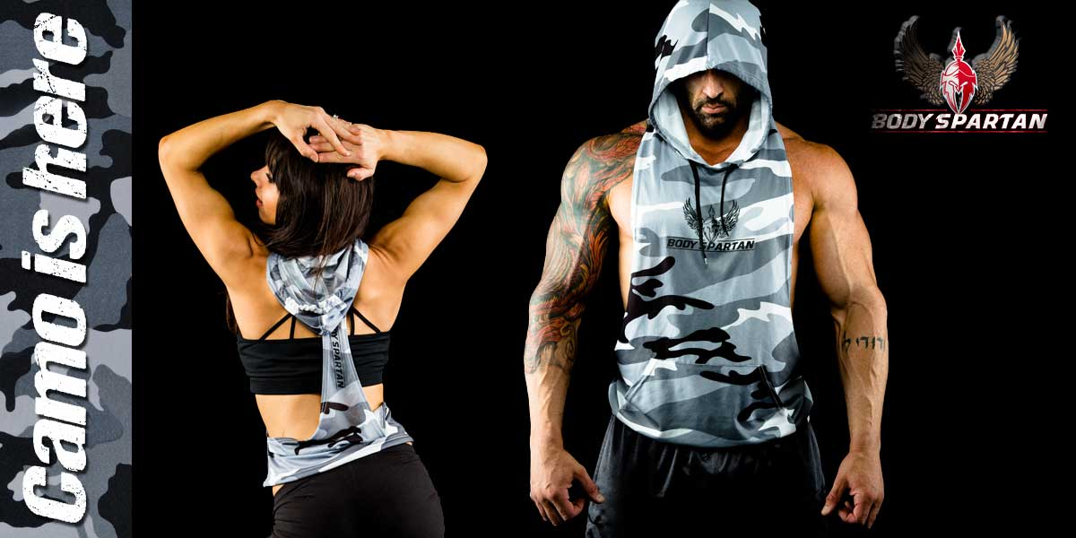 Mens and womens camo sleeveless hoodies