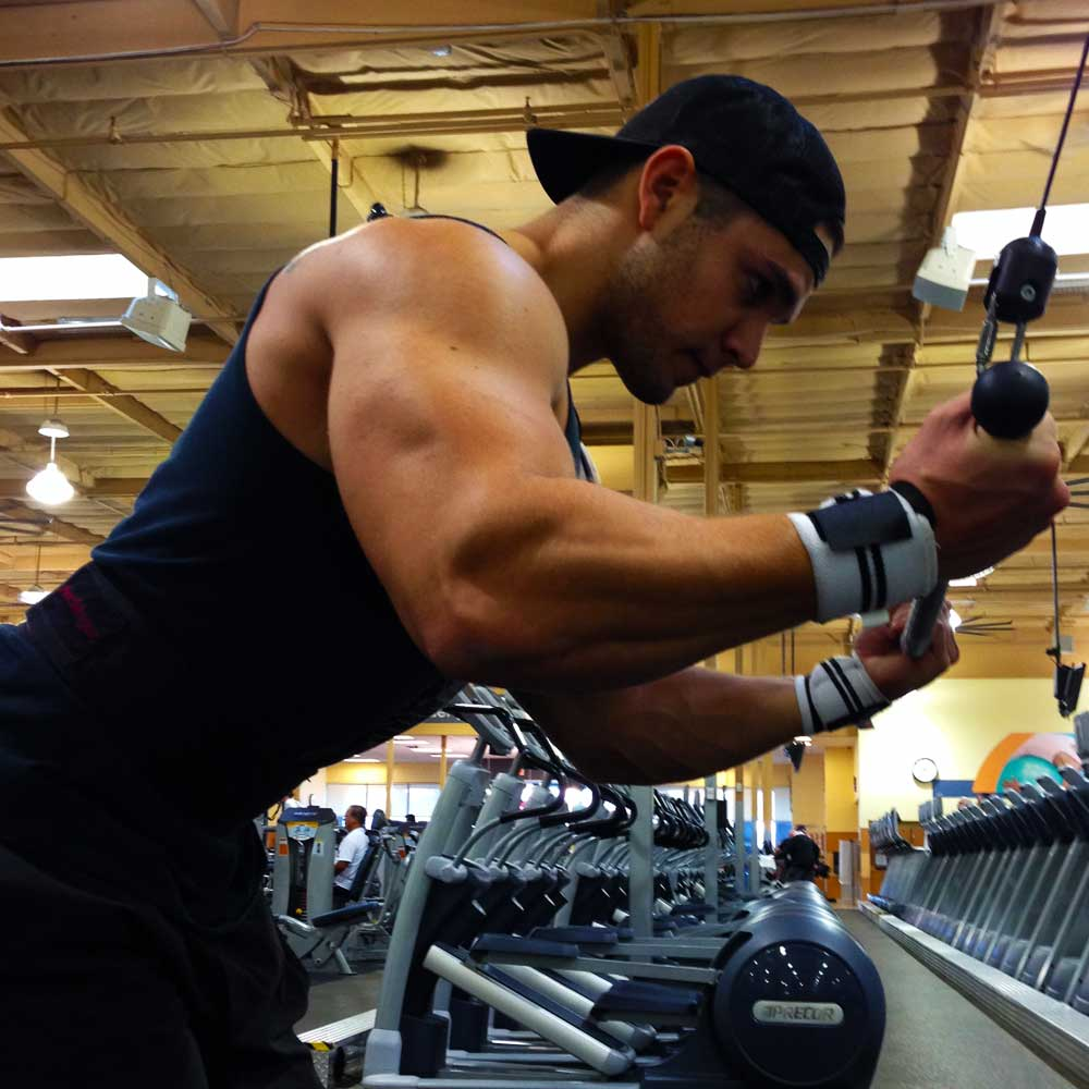 Reverse grip triceps pull downs