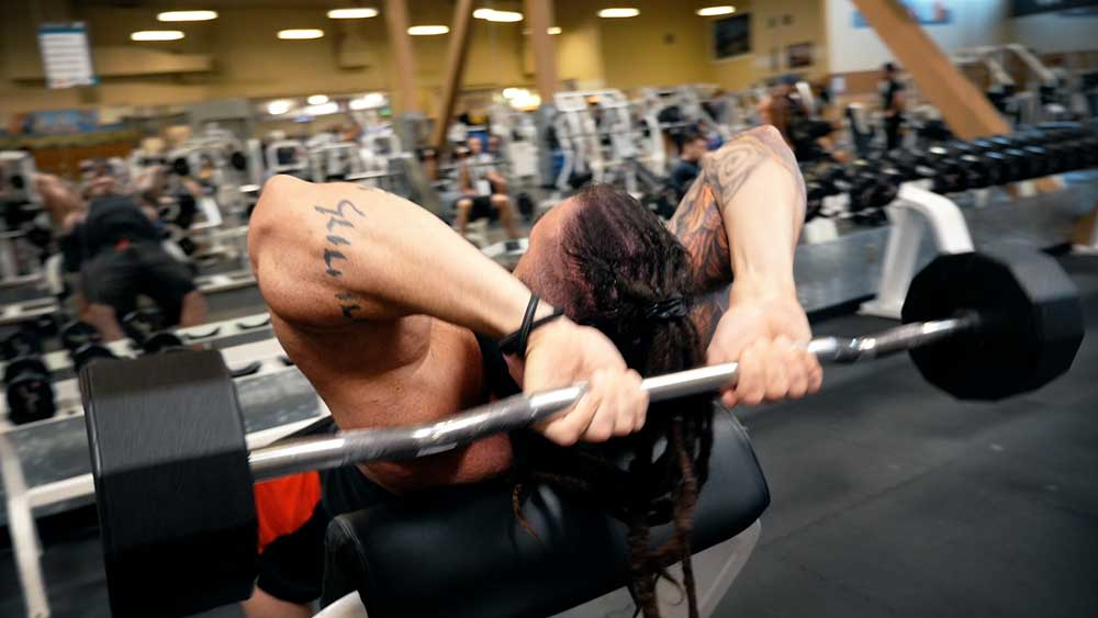Incline triceps skull crushers position 2