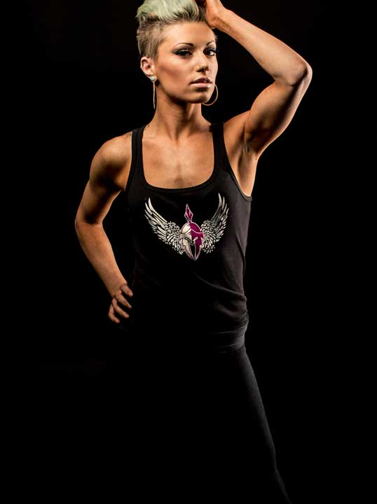 Womens yoga shirt, front view by Body Spartan