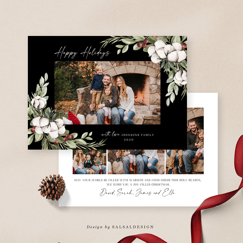 Christmas 5x7 Photo Card | Classic in black - CD205