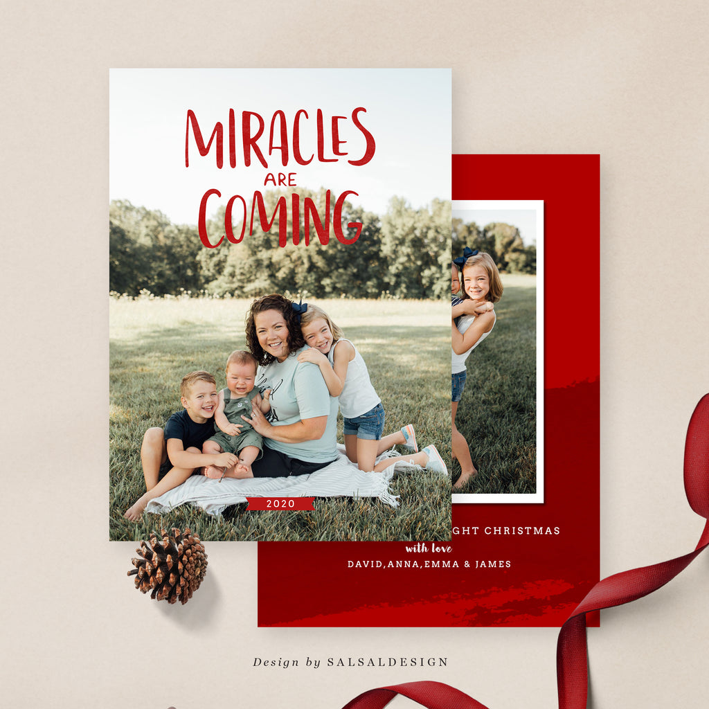 Christmas 5x7 Photo Card | Miracles are coming - CD046