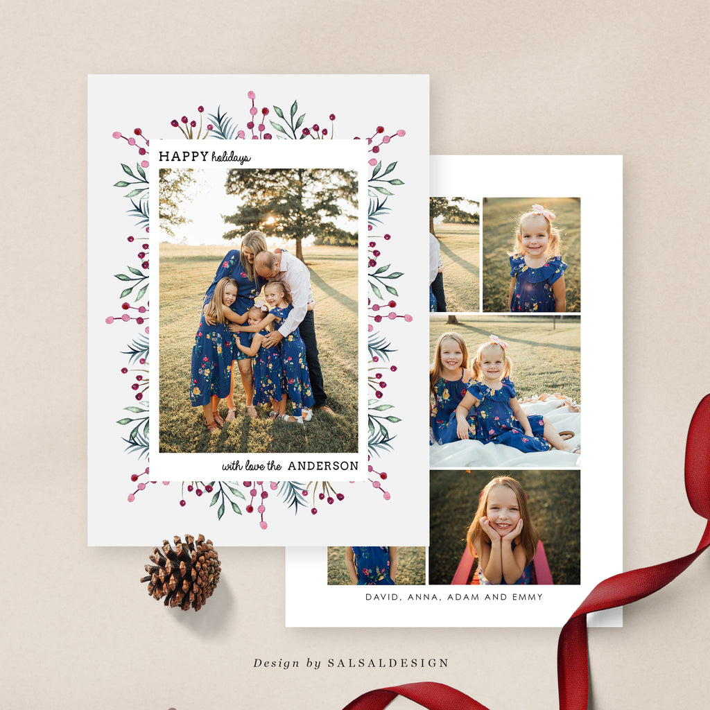 Christmas 5x7 Photo Card | Pink Snowflakes - CD073