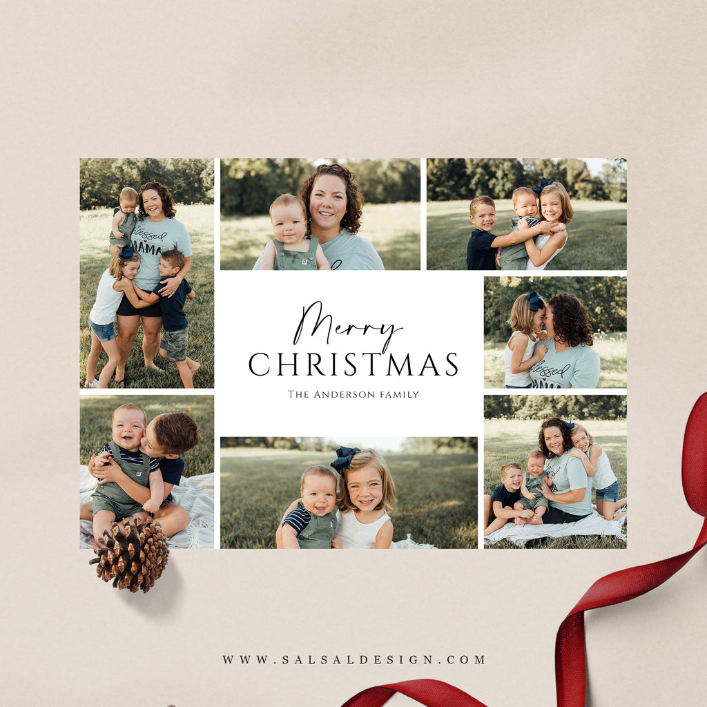 Christmas 5x7 Photo Card | Family grid - CD254