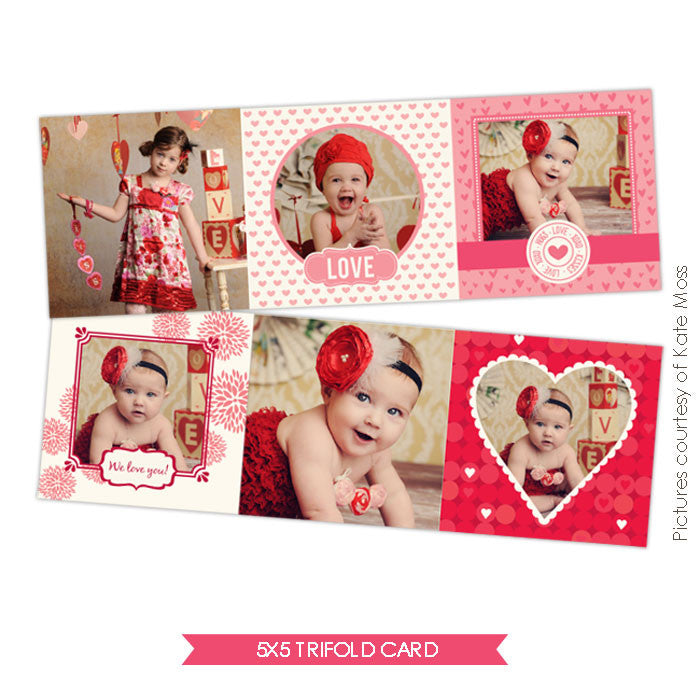 Valentine accordion card 5x5 | Accordion Hearts e324