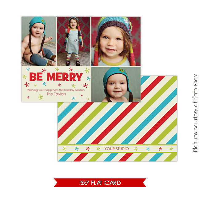 Holiday Photocard Template | Be merry e110