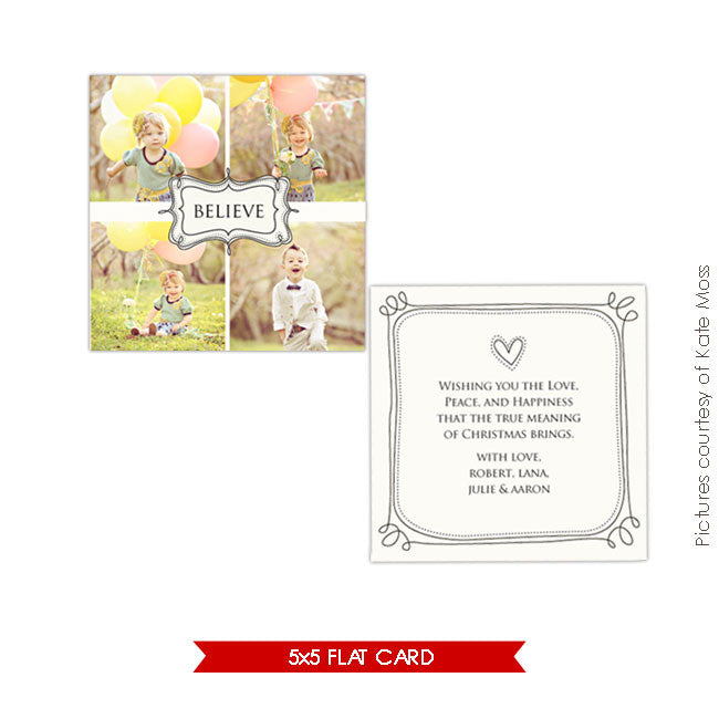 Holiday Photocard Template | Believe e199