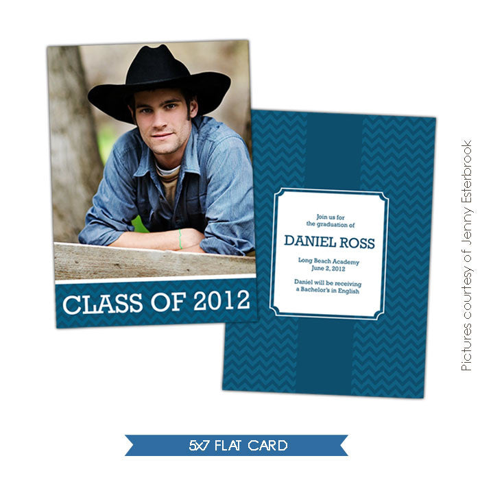 Blue Chevron | Graduation announcement e398