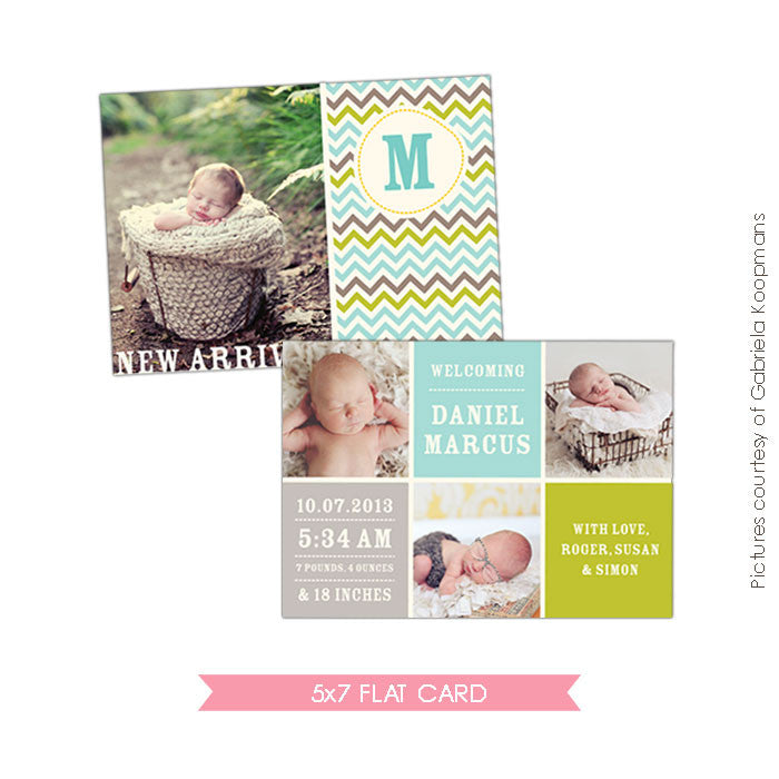 Birth Announcement | Chevron baby e478