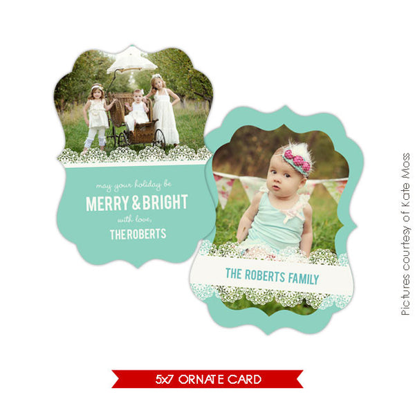 Holiday Ornate Photocard | Chic portrait e178