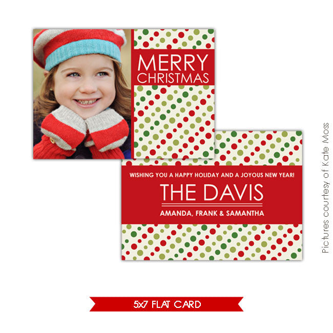 Holiday Photocard Template | Christmas dots e125
