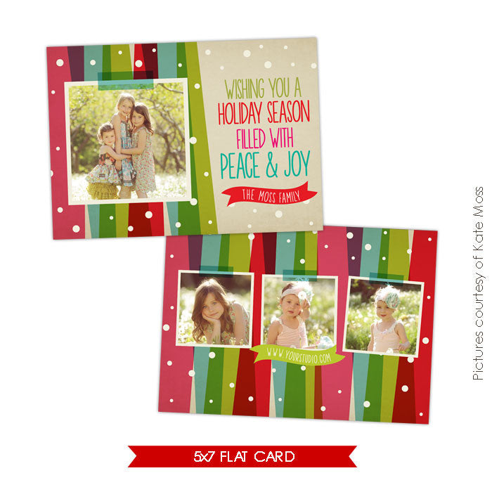 Holiday Photocard Template | Christmas Rainbow e552