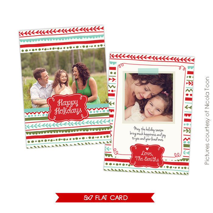 Holiday Photocard Template | Colorful Holidays e503