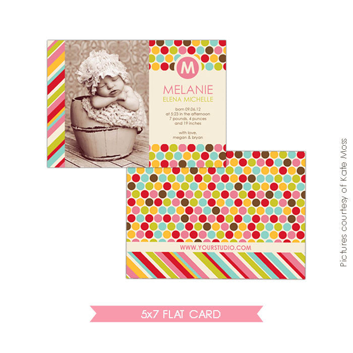 Birth Announcement | Colorful Dots e314