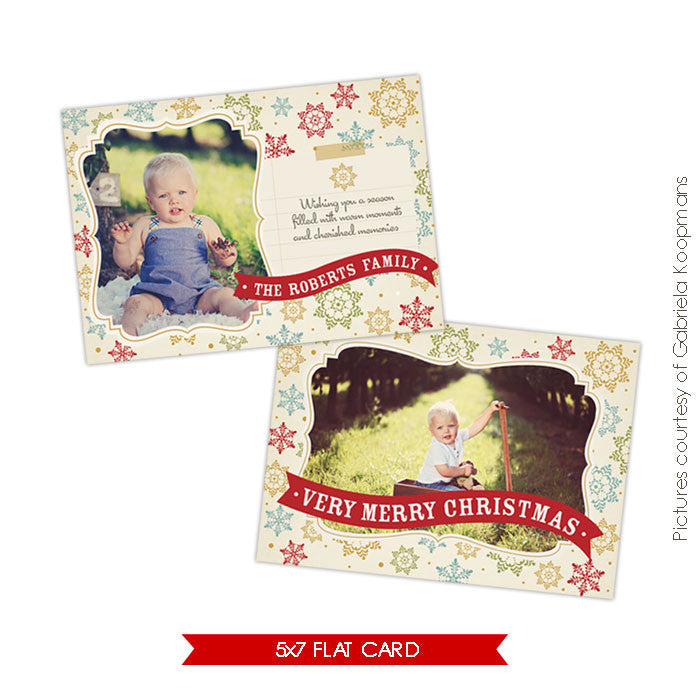 Holiday Photocard Template | Colorful Snowflakes e518