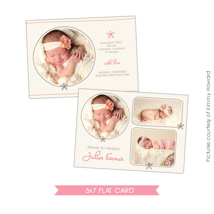 Birth Announcement | Cream Rose e429