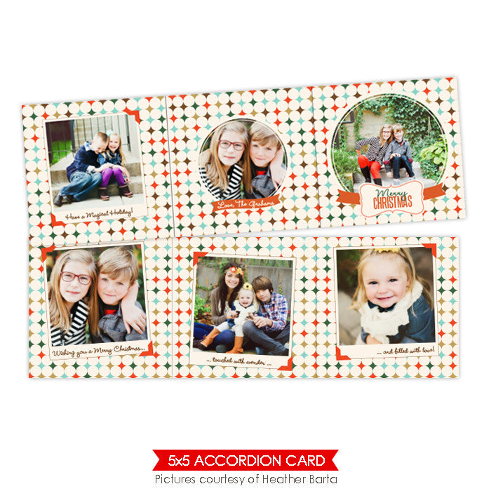 Holiday accordion card 5x5 | Family polaroids - e952