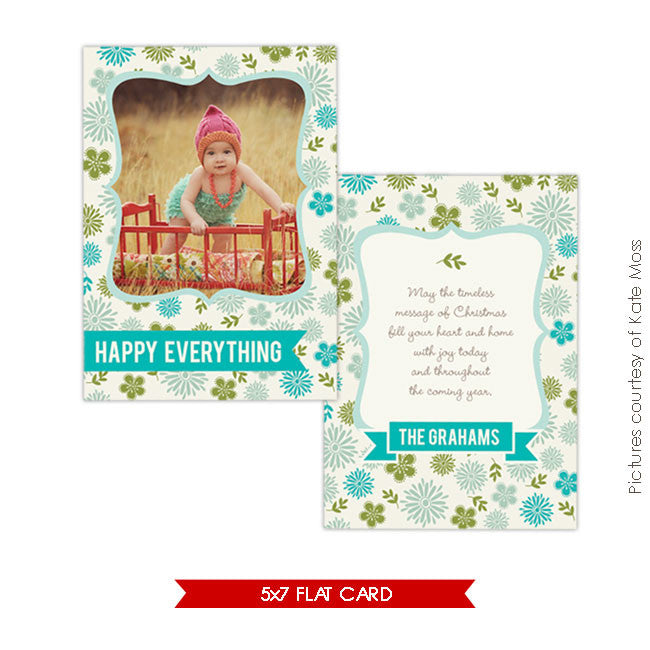 Holiday Photocard | Festive Flowers e222
