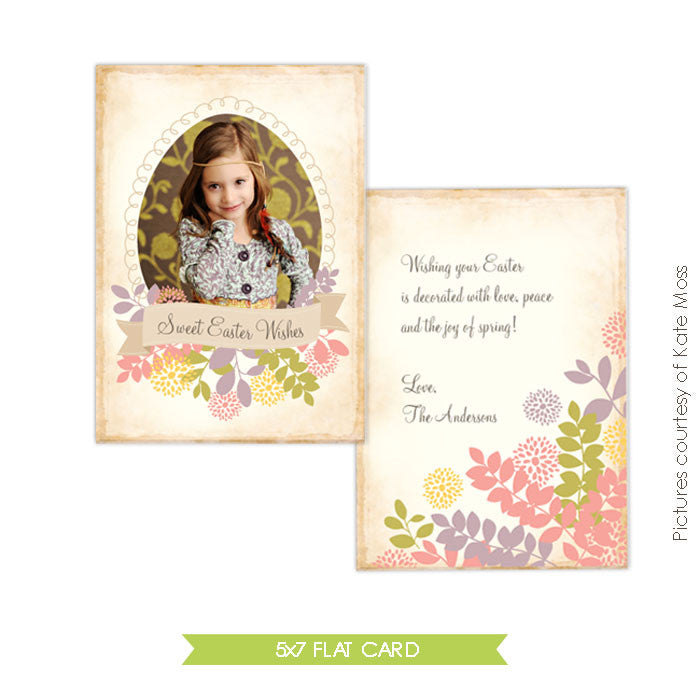 Easter photo card | Floral easter e340