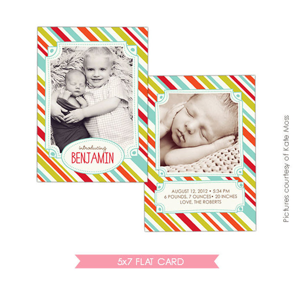 Birth Announcement | Fun & Stripes e313