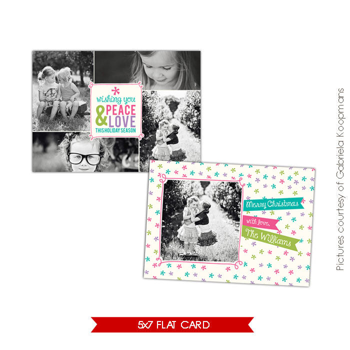 Holiday Photocard Template | Funny Stars e527