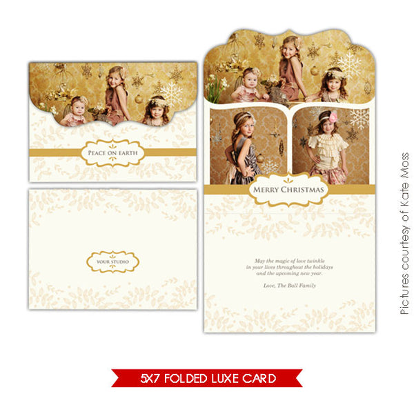 Holiday Ornate Photocard  | Gold Magic 5x7 e232