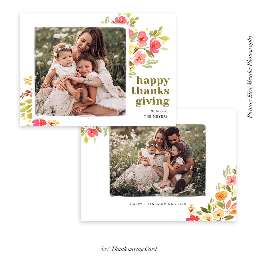 Thanksgiving Photocard Template | Floralia Fall - HC009