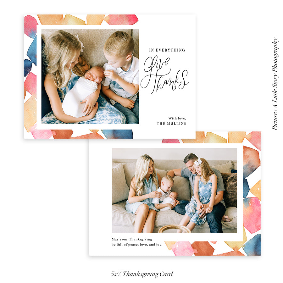 Thanksgiving Photocard Template | Cubes - HC016