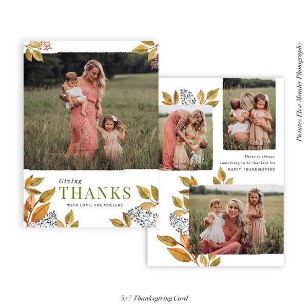 Thanksgiving Photocard Template | Fall forest - HC022