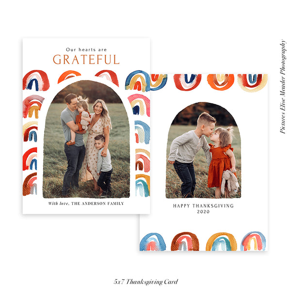 Thanksgiving Photocard Template | Rainbow day - HC023
