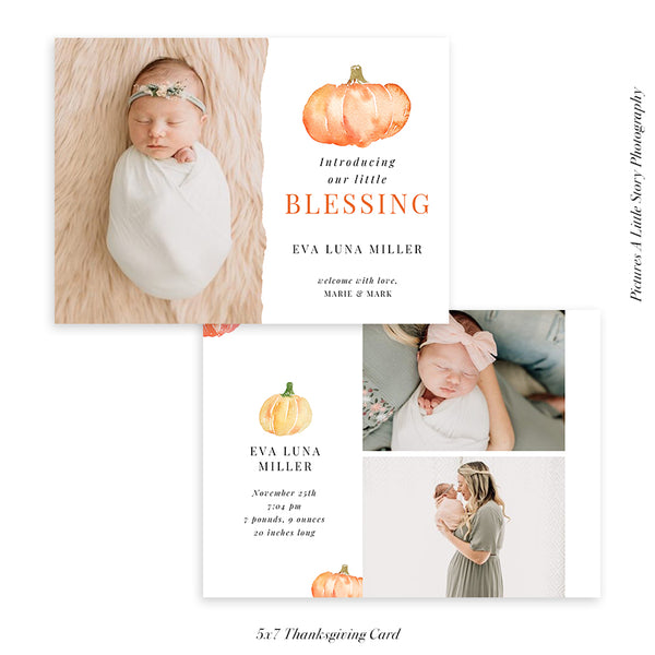 Birth Announcement - Thanksgiving Photocard Template | Pumpkin Blessing - HC024