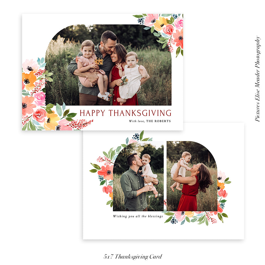 Thanksgiving Photocard Template | Floral Arch - HC025