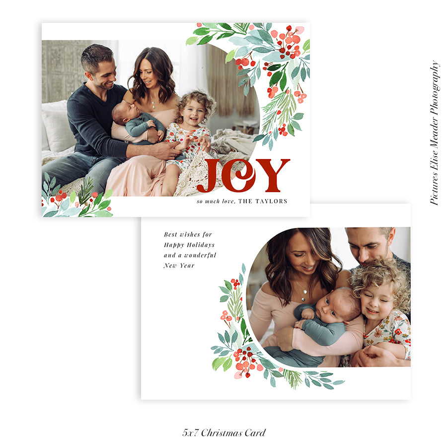 Christmas 5x7 Photo Card | Joyful Berries - HC028
