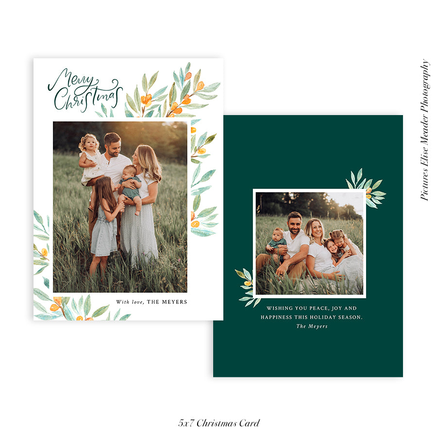 Christmas 5x7 Photo Card | Botanical Christmas - HC031