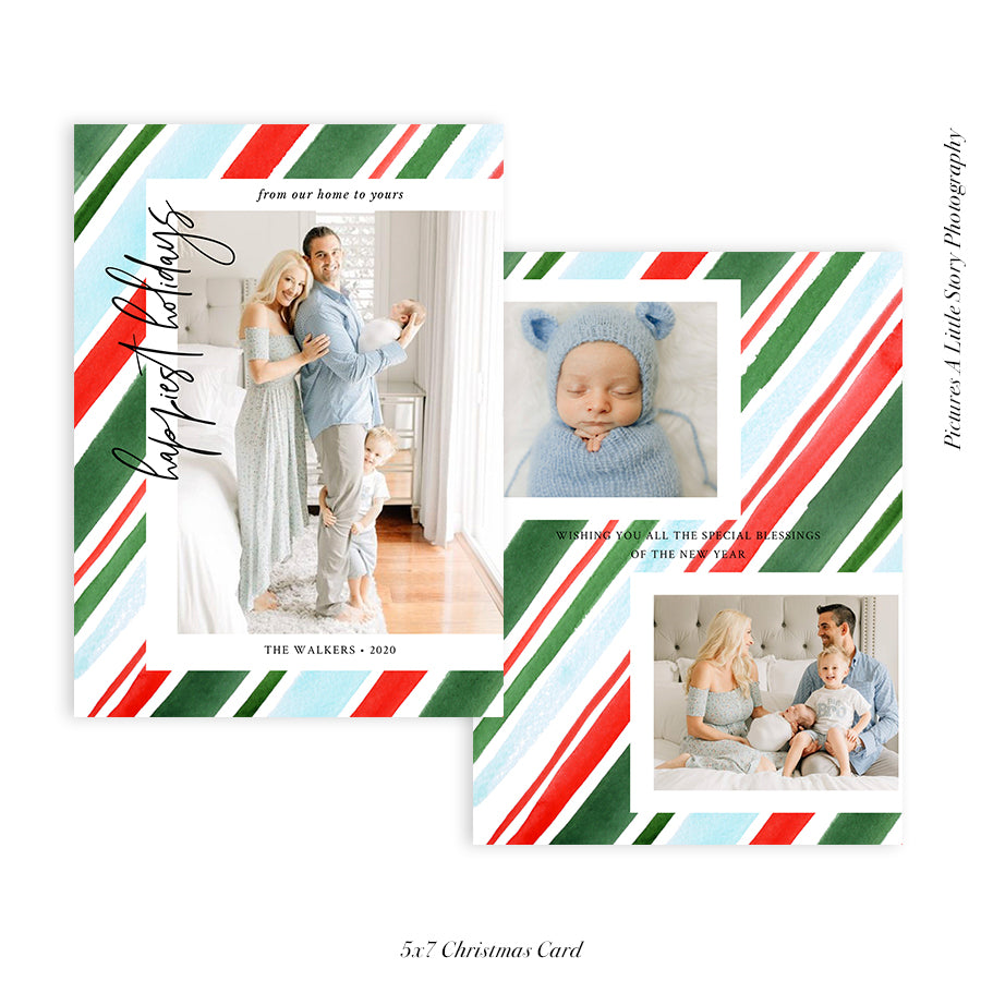 Christmas 5x7 Photo Card | Happiest Stripes - HC046