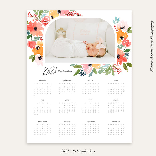 2021 Photo Calendar 8x10 | Dreamy Bouquet - HC078