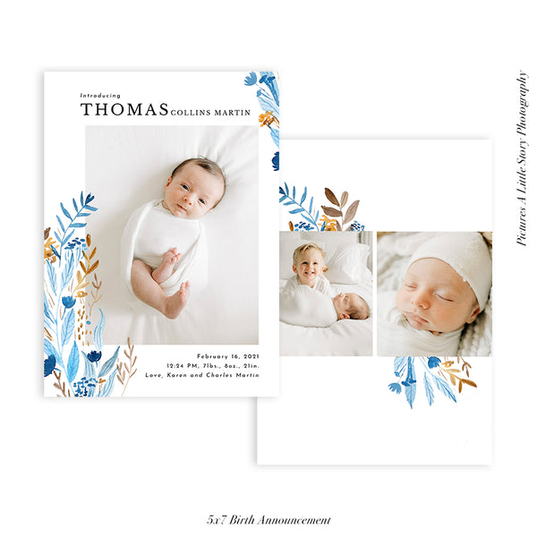 Birth Announcement Photocard | Floral Arrival - HC093