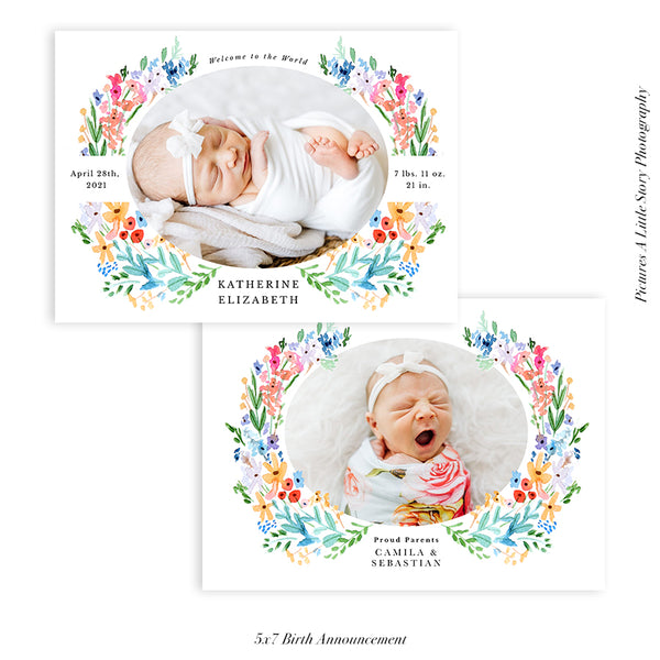 Birth Announcement Photocard | Floral Bliss - HC094