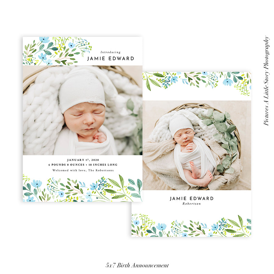 Birth Announcement Photocard | Whimsical Floral - HC095