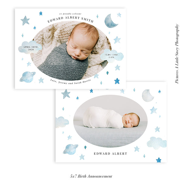 Birth Announcement Photocard | Milky Way - HC097