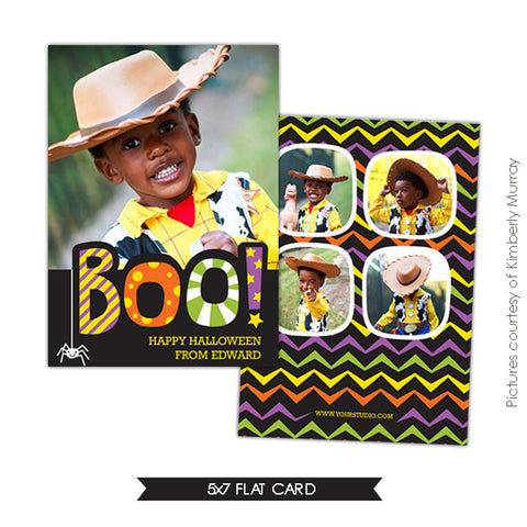Halloween Photocard Template | Happy Boo e532