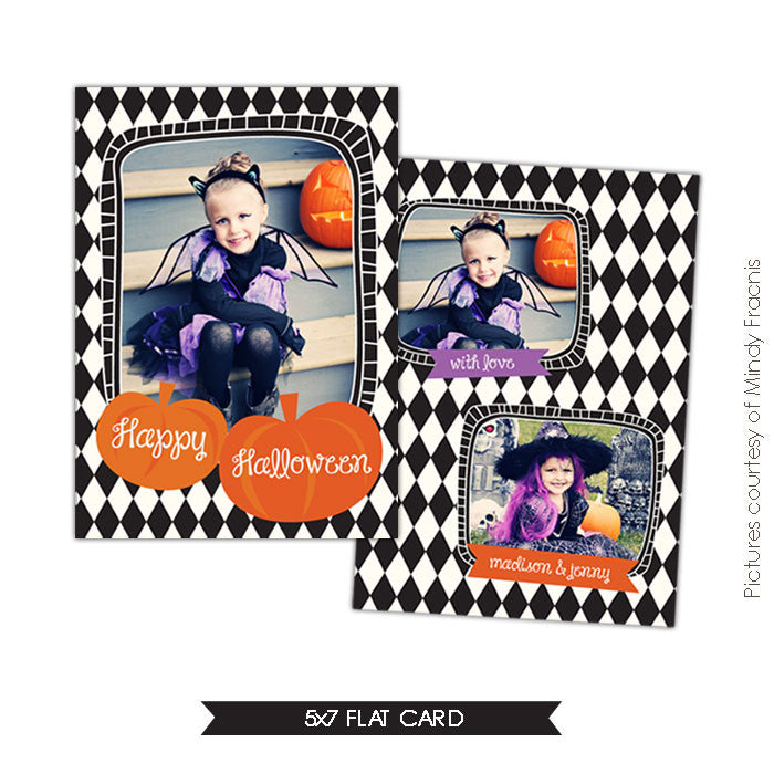 Halloween Photocard Template | Happy pumpkins e535