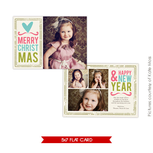 Holiday Photocard Template | Heart Greetings e153